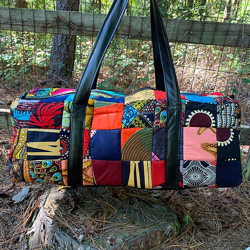 Patchwork Duffle with Vegan Leather #1