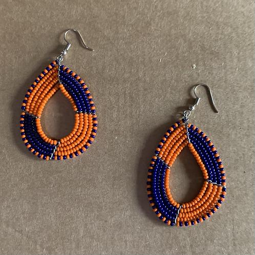 Large Teardrop Orange and Navy Beaded Earrings