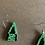 Thumbnail: Triangle Black and Green Beaded Earrings