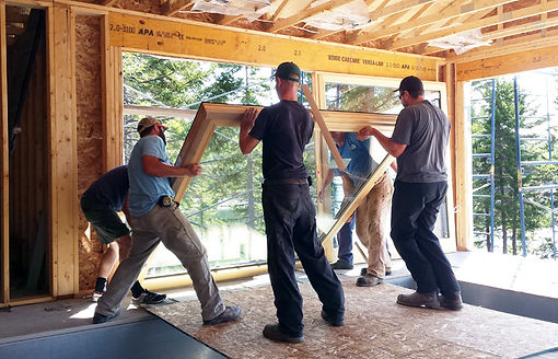 Pool House windows being installed.jpg