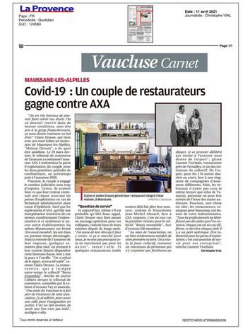 11/04/21 - LA PROVENCE Vaucluse Carnet