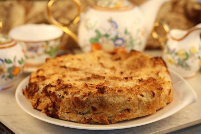 Пирог творожный с грушей
