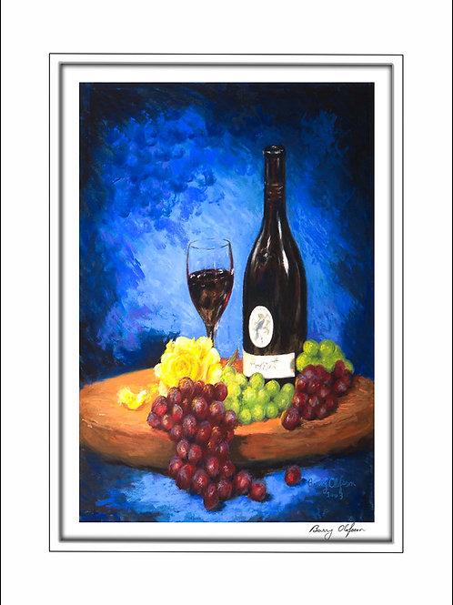 FA00125 Wine, Grapes & Yellow Rose