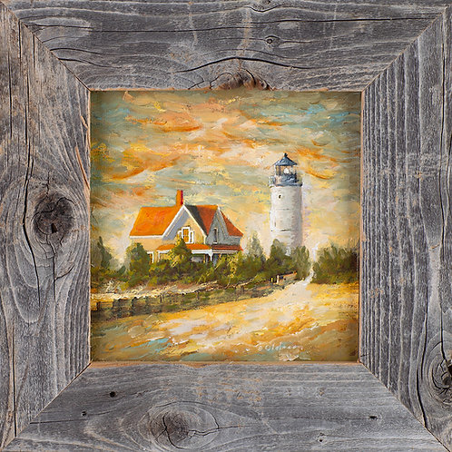 FA00352 Sandy Neck Light - Oil in 6 X 6 Barnwood Frame
