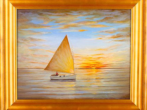 FA00359 Sailboat Sunset 16 X 20 Oil Gold Frame