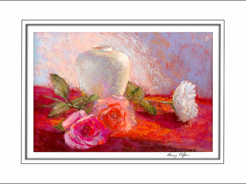 FA00124 Pink & White Roses with Vase