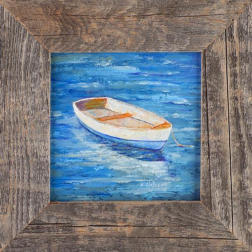 FA00351 Rowboat - Oil in 6 X 6 Barnwood Frame
