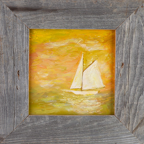 FA00350 Sailboat - Oil in 6 X 6 Barnwood Frame