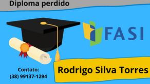Diploma perdido em nome de Rodrigo Silva Torres