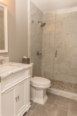 Gray and White Marble Bathroom