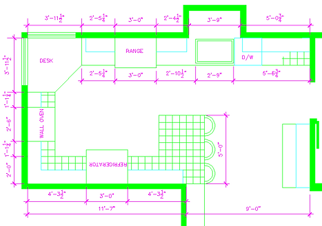 CAD Kitchen Drawing, D M Designs, Donna Mushinskie CID, Yucaipa, CA, Inland Empire