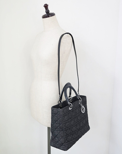 0f76e0ba53b CHRISTIAN DIOR Black Denim Canvas Lady Dior 2-Way Hand Bag Purse
