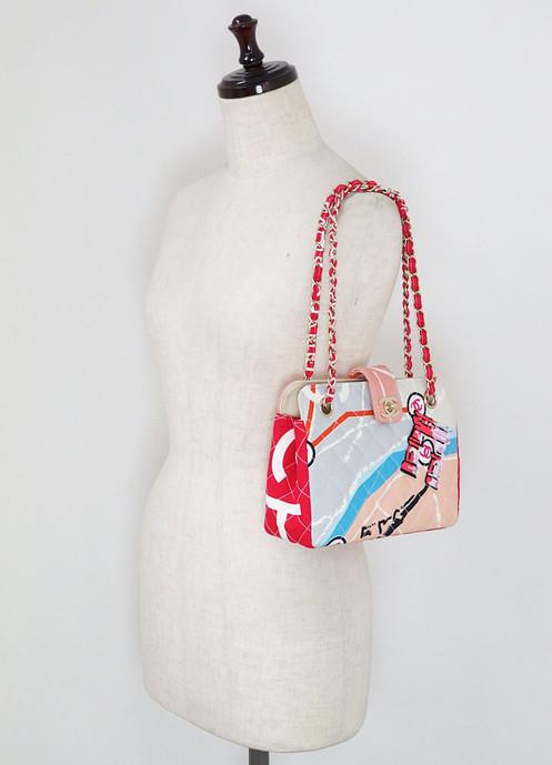 709a973913f334 CHANEL Multicolor Quilted Canvas Arc De Triomphe Tote Hand Bag Purse