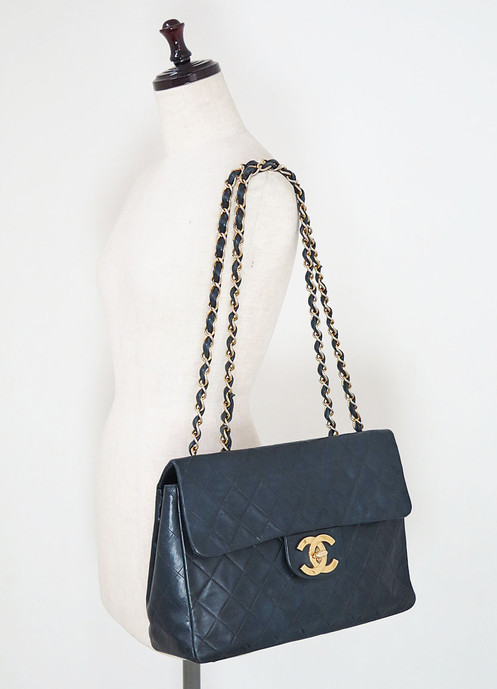 55e21c2fed8 CHANEL Black Quilted Lambskin Leather Chain Shoulder Maxi Flap Bag