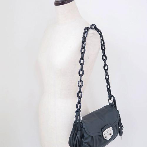 a8437ea515e4 PRADA Black Calfskin Leather Fringe Tassel Chain Shoulder Bag Purse