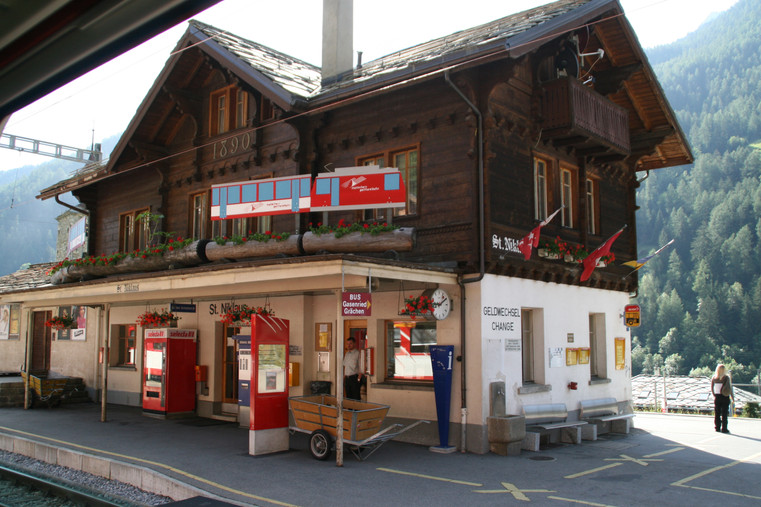 Swiss Train Station in the Alps