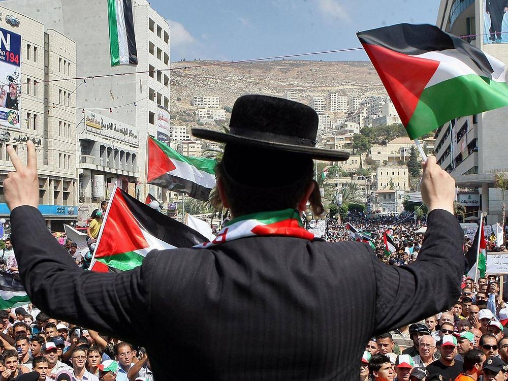 A self-hating Jew waving a Palestinian flag