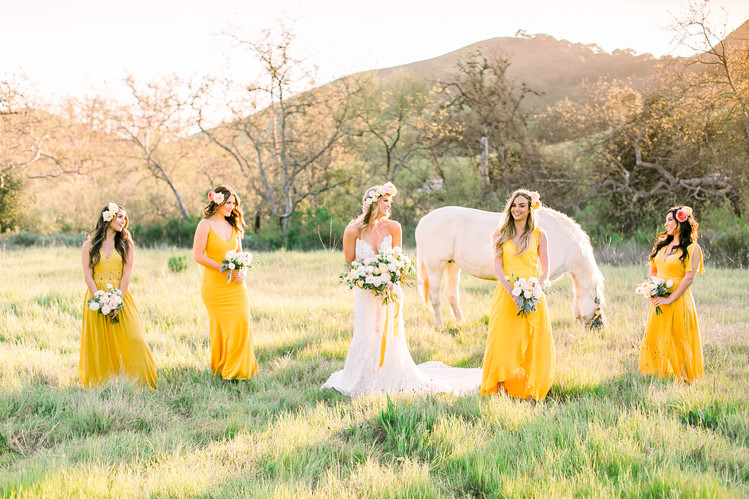 Higuera-Ranch-Wedding-Yellow-Bridesmaid-