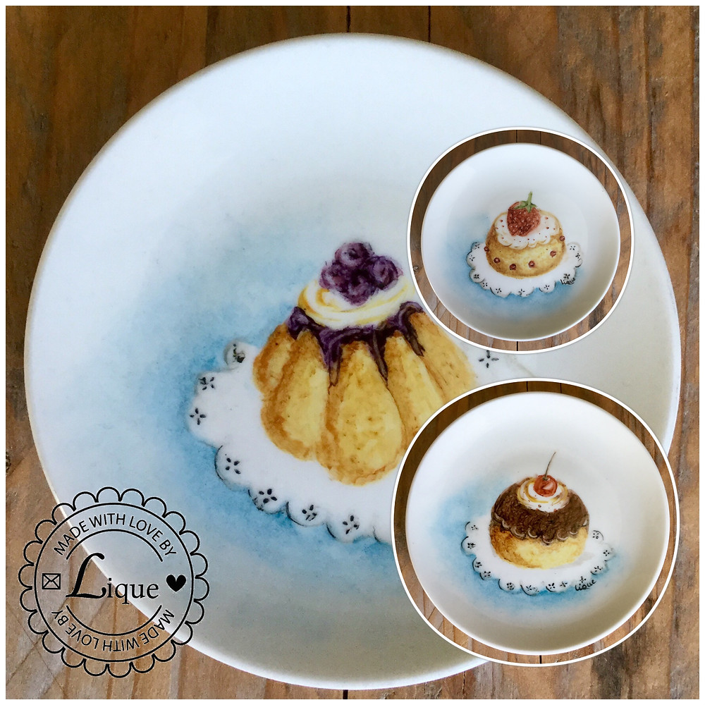 Three cute little dishes I painted during a workshop 'Painting Porcelain' by Lia Hendriks