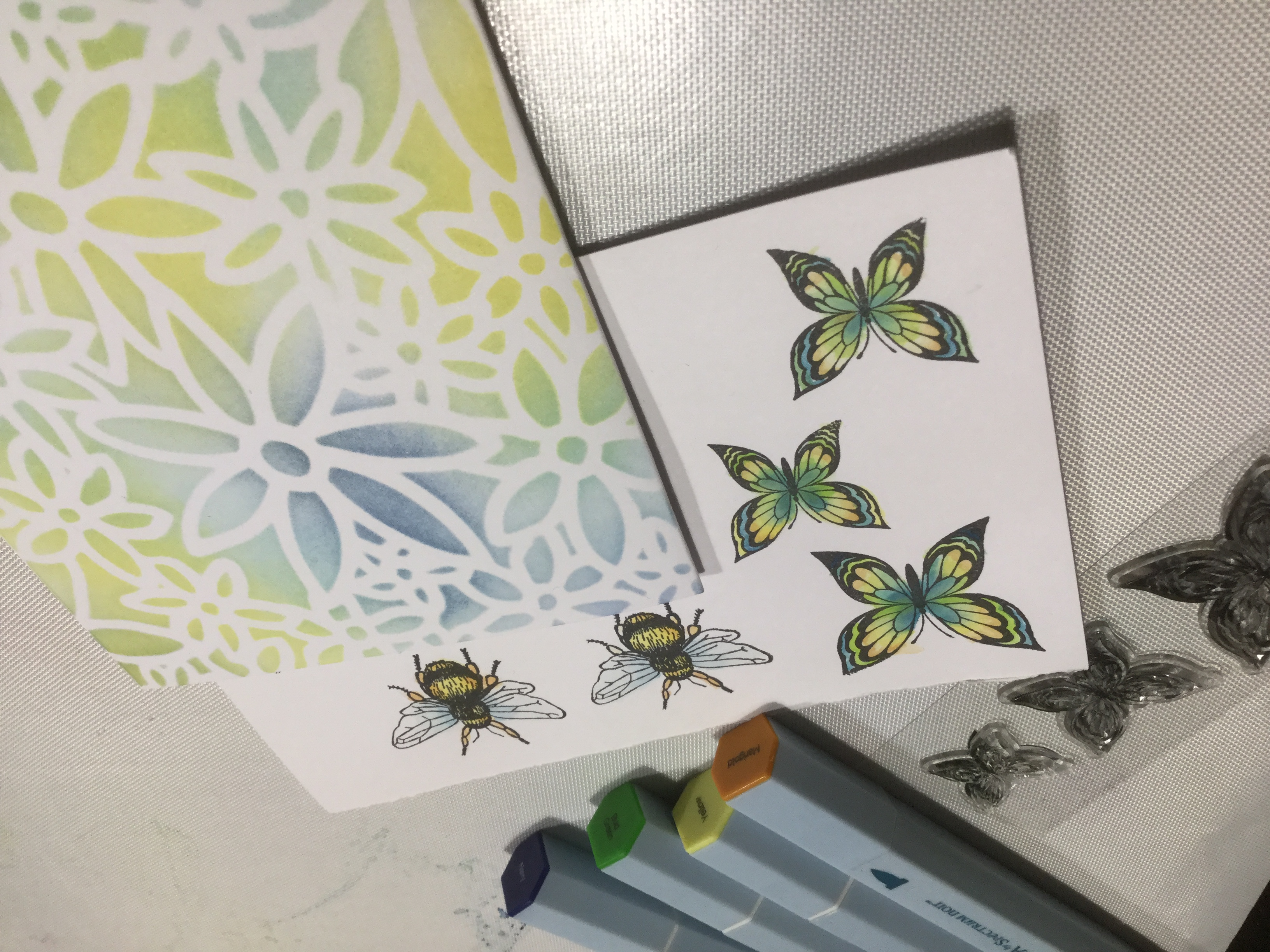 Aquamarkers, stamps and stencil