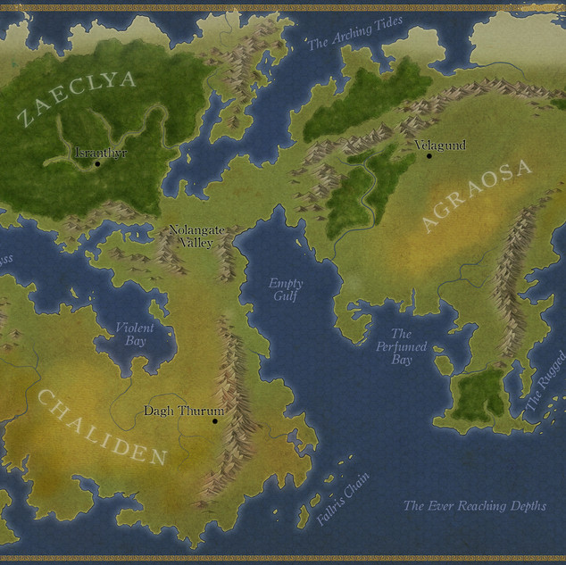 RPG World Map - Agraosa, Zaeclya, and Chaliden