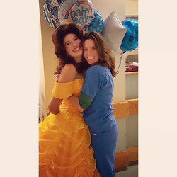 Princess #Belle was doing a hospital visit when she just happened to run into her #Mom hard at work!