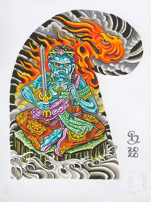 Lenny Sandvick: Tattoo Half Sleeve Template: Fudō Myō-ō