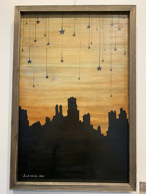 """Cityscape with Hanging Stars (14""""x22"""")"""