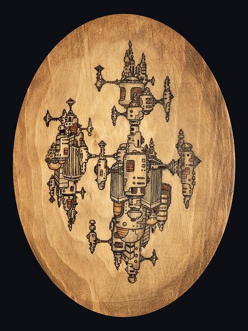 "Ecumenopolis, wood/oval (9""x11"")"