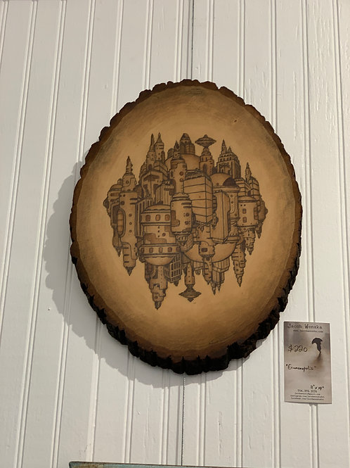 "Ecumenopolis, wood oval (11""x14"")"
