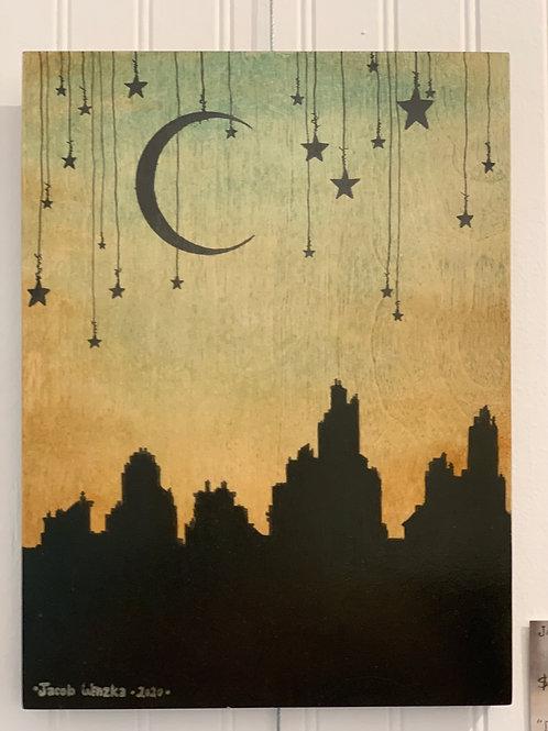 """Dark Stars & Night City (9""""x12"""")"""