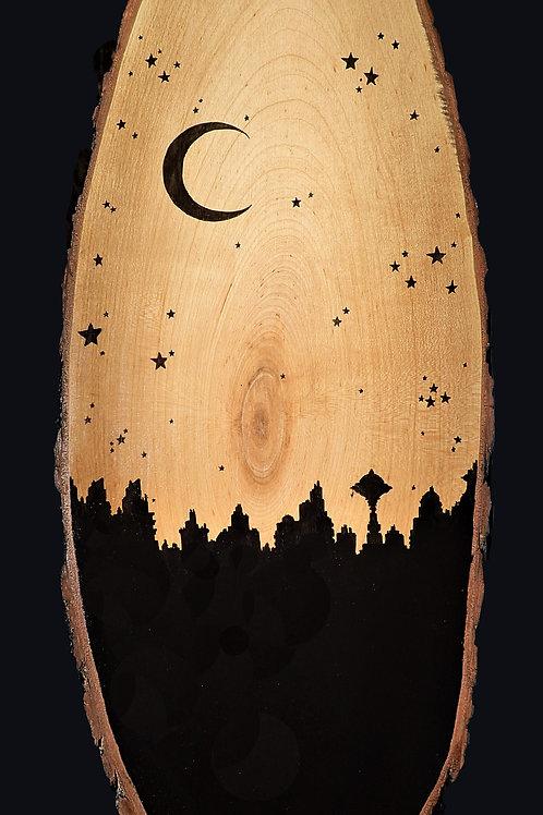 "SOLD! Dark Stars & Night City, wood oval (10""30"")"