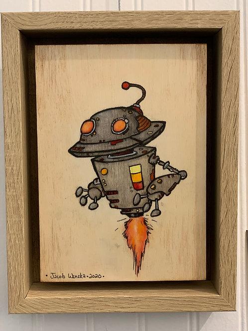 "Flying Saucer Head Bot (4.5""x6.5"")"