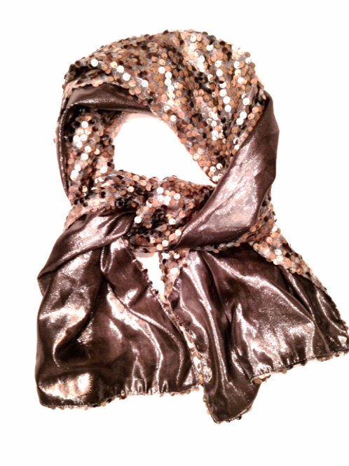 Silver Silk Lamay Scarf with Sequins