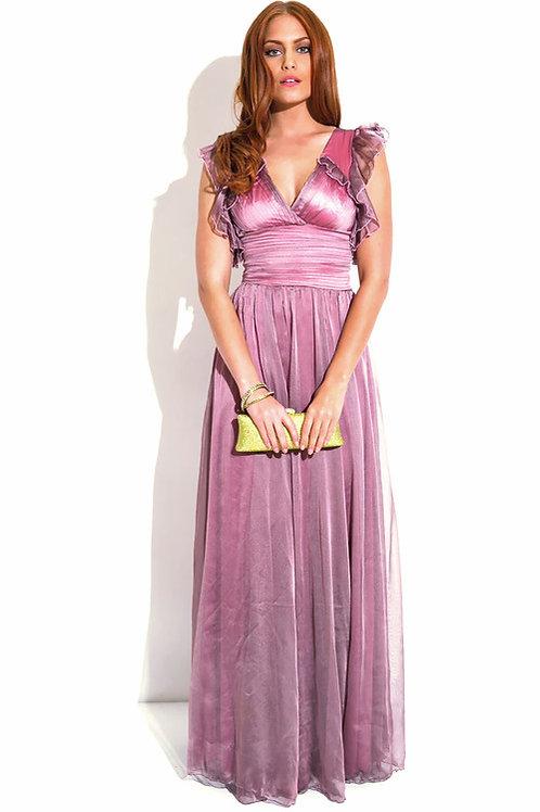Iridescnt Dusty Pink Chiffon Dress