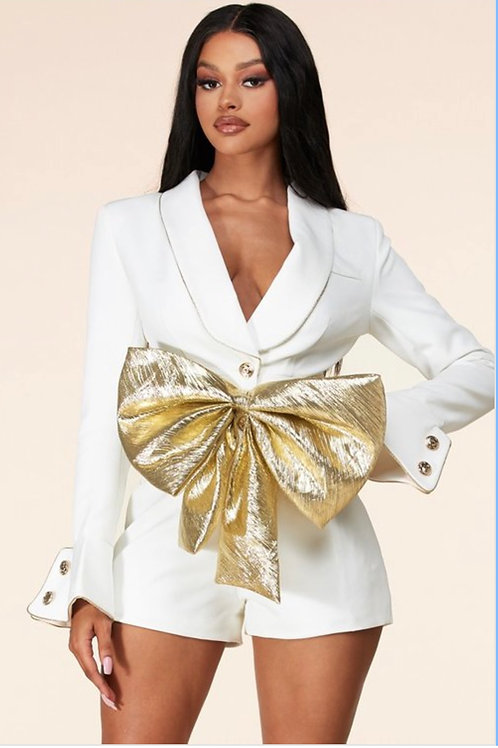 White Blazer romper with gold bow