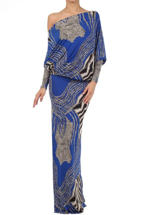 Royal Blue Dress with Animal Print