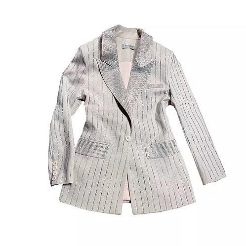 fsashion girl Grey striped rhinestone blazer