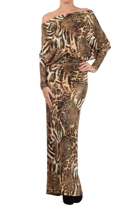 #013223  Gold Maxi Dress-Animal Prints