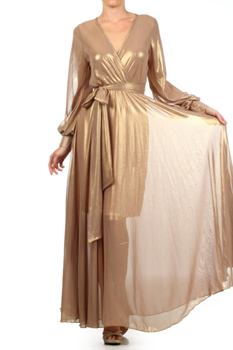 #2311 Gold Overflowing Maxi Dress