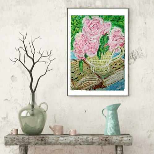 I Remember Loving You - Floral Paper Painting Unframed - Original Painting