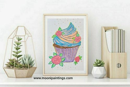 Yummy Cupcake Series -4 Hand Drawn , Printable Art