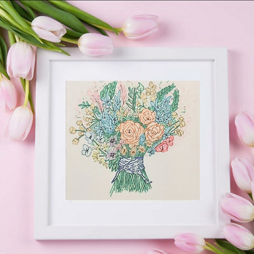 Hand Drawn illustration  Cute Bouquet Series -1 , Printable Art