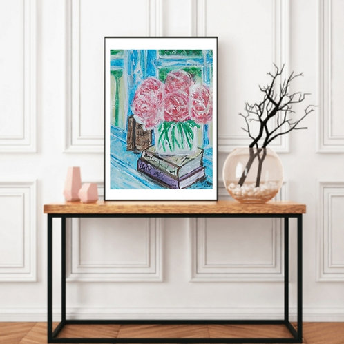 A Happy Day - Floral Paper Painting Unframed - Original Painting