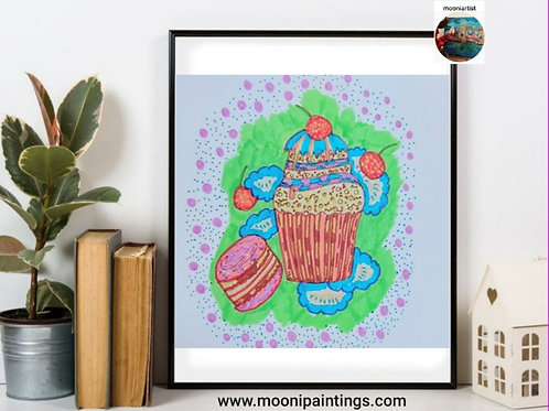Yummy Cupcake Series -2 Hand Drawn , Printable Art