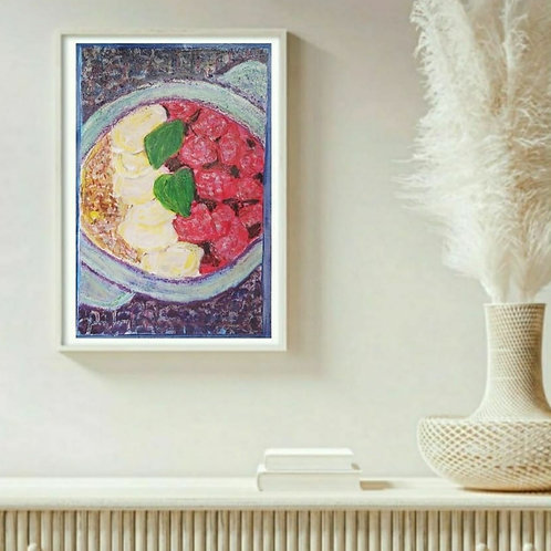 Healthy Meal - Still Life Paper Painting Unframed - Original Painting