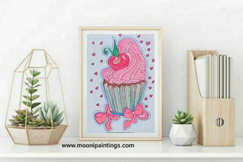Hand Drawn illustration  Yummy Cupcake Series -5Hand Drawn, Printable Art