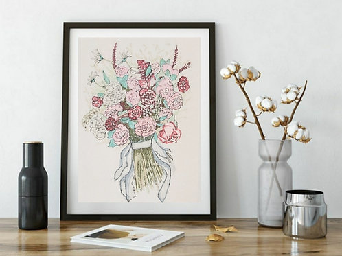Hand Drawn illustration Cute Bouquet Series -2 , Printable Art