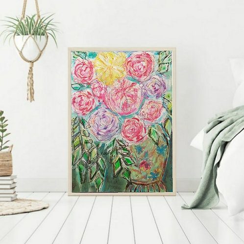 I will survive - Floral Paper Painting Unframed - Original Painting