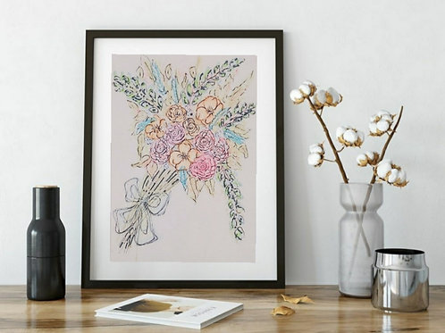 Hand Drawn illustration Cute Bouquet Series -4 , Printable Art